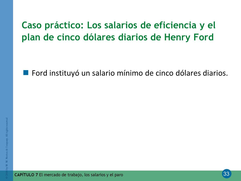 33 © 2008 by W. W. Norton & Company. All rights reserved CAPÍTULO 7 El mercado de trabajo, los salarios y el paro Caso práctico: Los salarios de efici