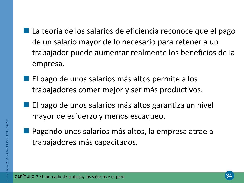 34 © 2008 by W. W. Norton & Company. All rights reserved CAPÍTULO 7 El mercado de trabajo, los salarios y el paro La teoría de los salarios de eficien