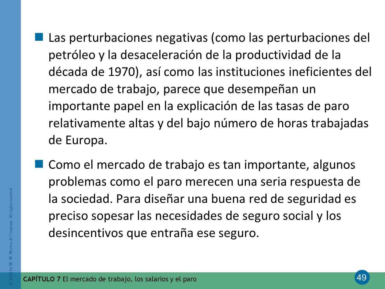 49 © 2008 by W. W. Norton & Company. All rights reserved CAPÍTULO 7 El mercado de trabajo, los salarios y el paro Las perturbaciones negativas (como l