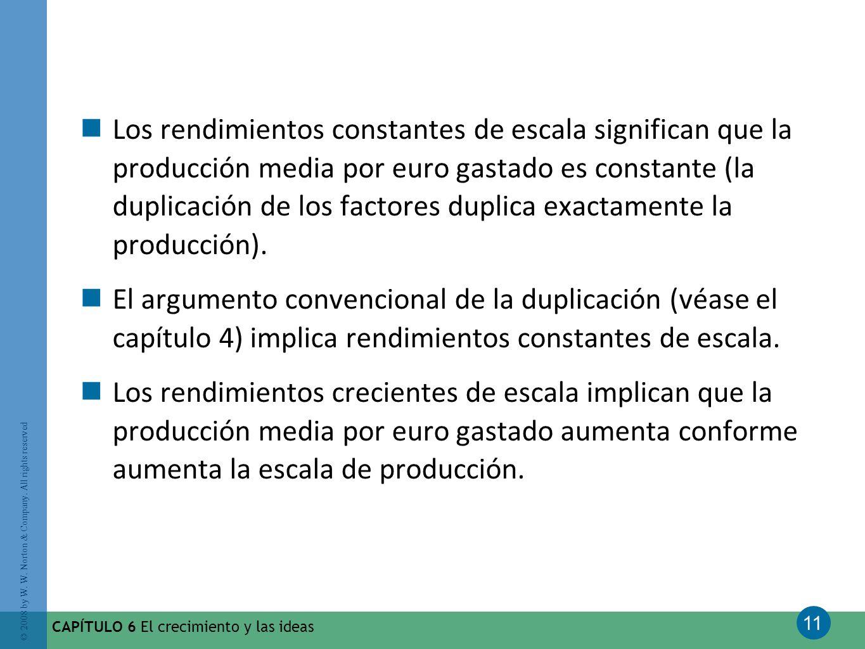 11 © 2008 by W. W. Norton & Company. All rights reserved CAPÍTULO 6 El crecimiento y las ideas Los rendimientos constantes de escala significan que la