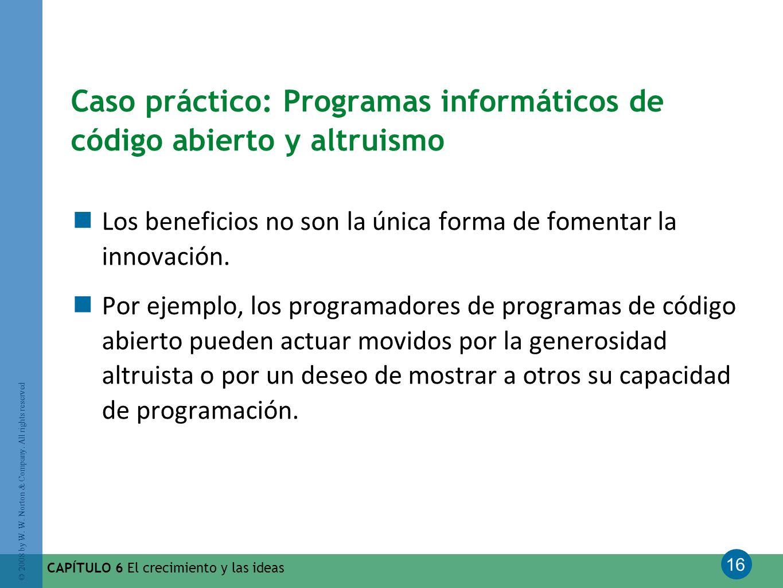 16 © 2008 by W. W. Norton & Company. All rights reserved CAPÍTULO 6 El crecimiento y las ideas Caso práctico: Programas informáticos de código abierto