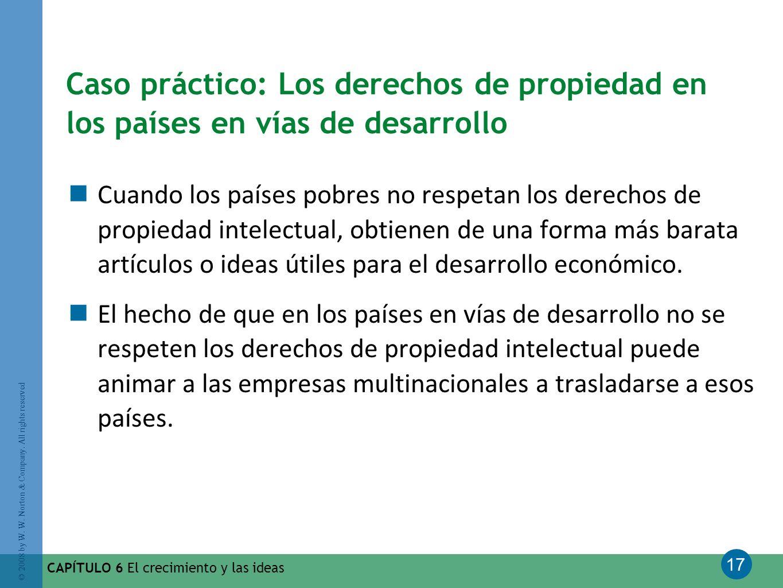 17 © 2008 by W. W. Norton & Company. All rights reserved CAPÍTULO 6 El crecimiento y las ideas Caso práctico: Los derechos de propiedad en los países