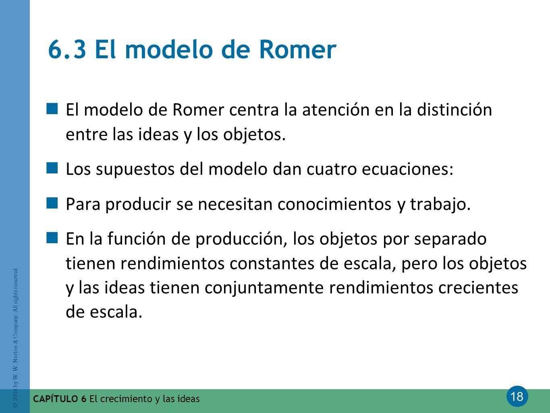 18 © 2008 by W. W. Norton & Company. All rights reserved CAPÍTULO 6 El crecimiento y las ideas 6.3 El modelo de Romer El modelo de Romer centra la ate