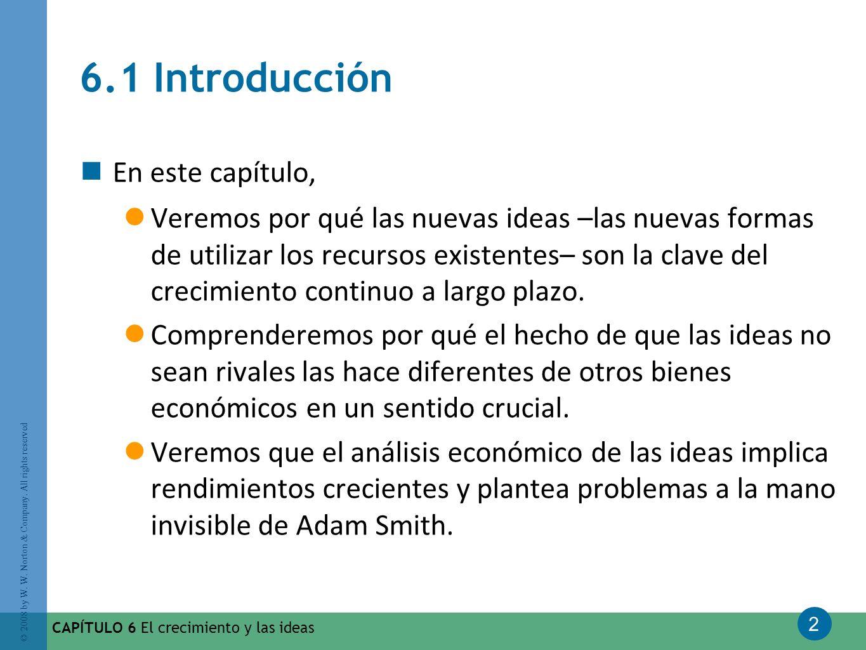 2 © 2008 by W. W. Norton & Company. All rights reserved CAPÍTULO 6 El crecimiento y las ideas 6.1 Introducción En este capítulo, Veremos por qué las n