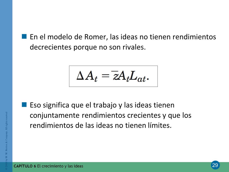 29 © 2008 by W. W. Norton & Company. All rights reserved CAPÍTULO 6 El crecimiento y las ideas En el modelo de Romer, las ideas no tienen rendimientos