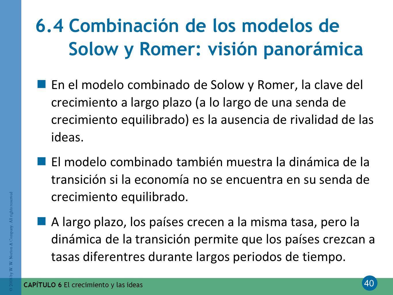 40 © 2008 by W. W. Norton & Company. All rights reserved CAPÍTULO 6 El crecimiento y las ideas 6.4 Combinación de los modelos de Solow y Romer: visión