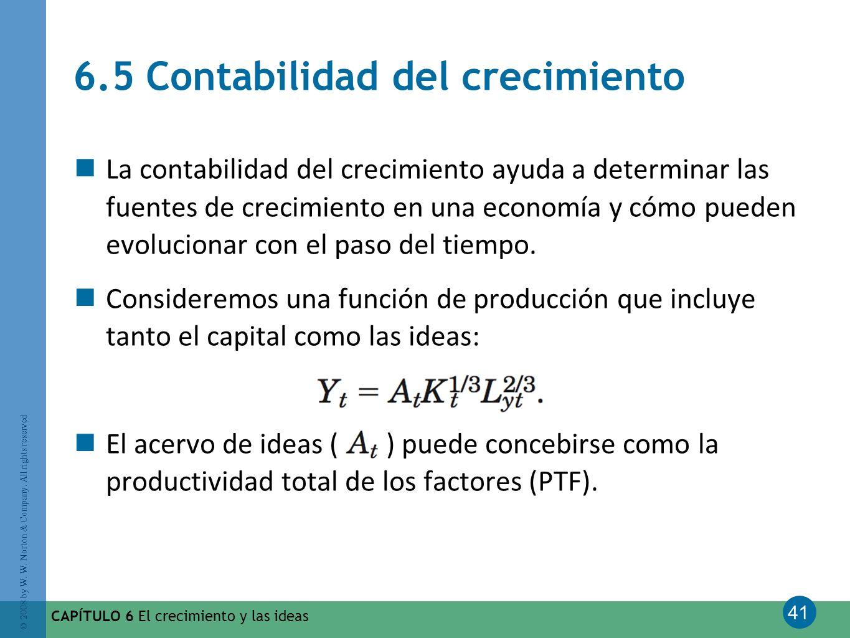41 © 2008 by W. W. Norton & Company. All rights reserved CAPÍTULO 6 El crecimiento y las ideas 6.5 Contabilidad del crecimiento La contabilidad del cr