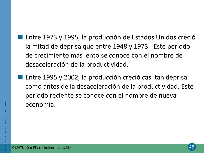 45 © 2008 by W. W. Norton & Company. All rights reserved CAPÍTULO 6 El crecimiento y las ideas Entre 1973 y 1995, la producción de Estados Unidos crec