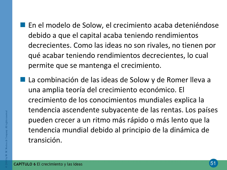 51 © 2008 by W. W. Norton & Company. All rights reserved CAPÍTULO 6 El crecimiento y las ideas En el modelo de Solow, el crecimiento acaba deteniéndos