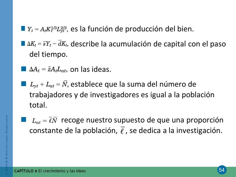 54 © 2008 by W. W. Norton & Company. All rights reserved CAPÍTULO 6 El crecimiento y las ideas es la función de producción del bien. describe la acumu