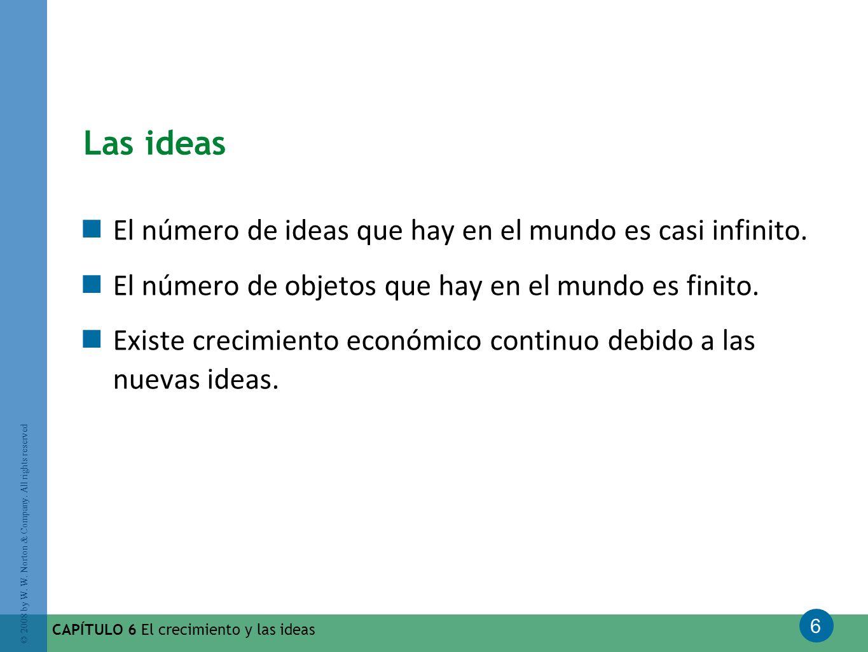 6 © 2008 by W. W. Norton & Company. All rights reserved CAPÍTULO 6 El crecimiento y las ideas Las ideas El número de ideas que hay en el mundo es casi