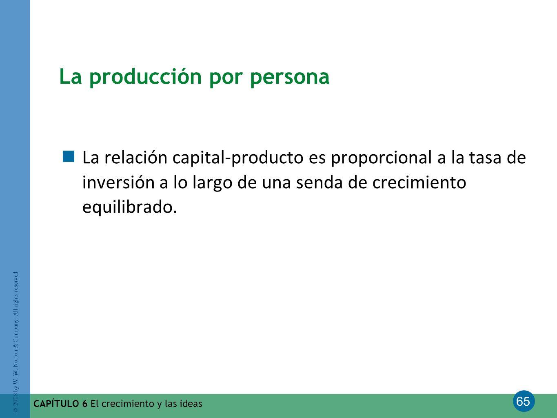 65 © 2008 by W. W. Norton & Company. All rights reserved CAPÍTULO 6 El crecimiento y las ideas La producción por persona La relación capital-producto