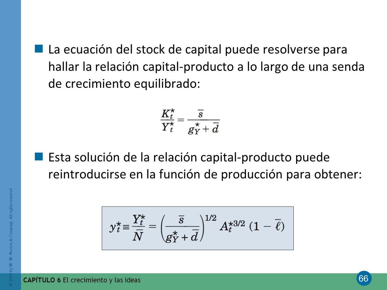 66 © 2008 by W. W. Norton & Company. All rights reserved CAPÍTULO 6 El crecimiento y las ideas La ecuación del stock de capital puede resolverse para