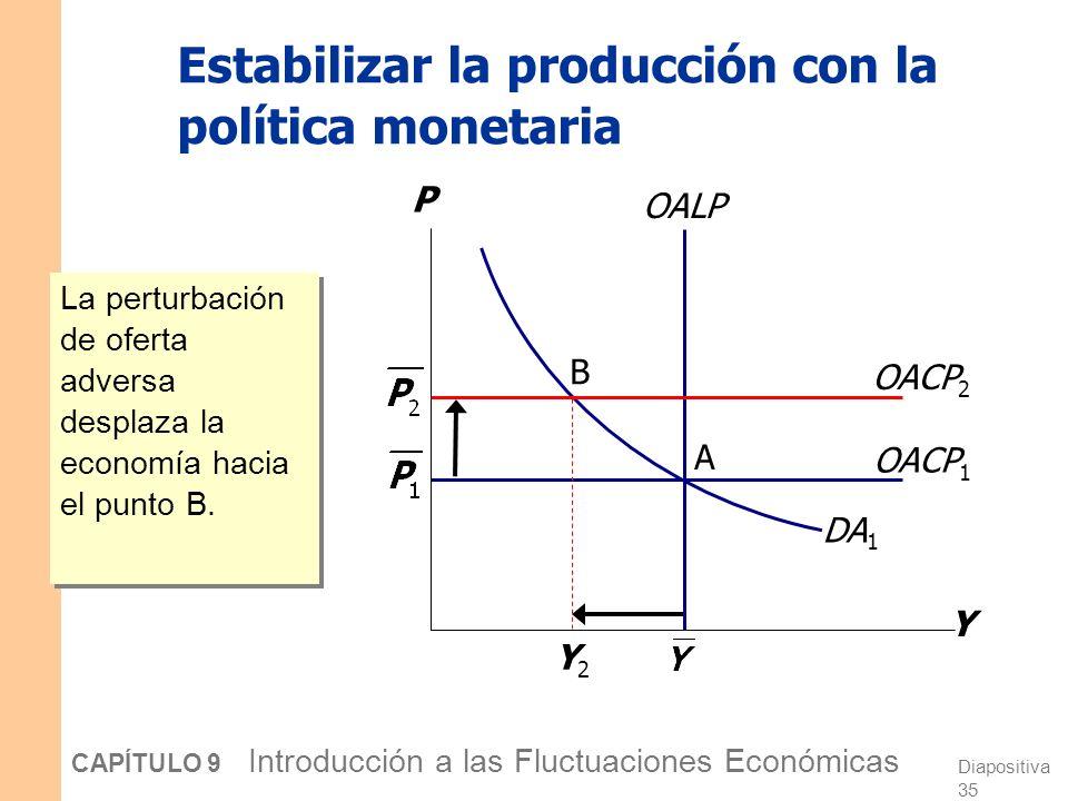 Diapositiva 34 CAPÍTULO 9 Introducción a las Fluctuaciones Económicas La política de estabilización Definición: Las decisiones de política destinadas a reducir los problemas generados por las fluctuaciones económicas a corto plazo.