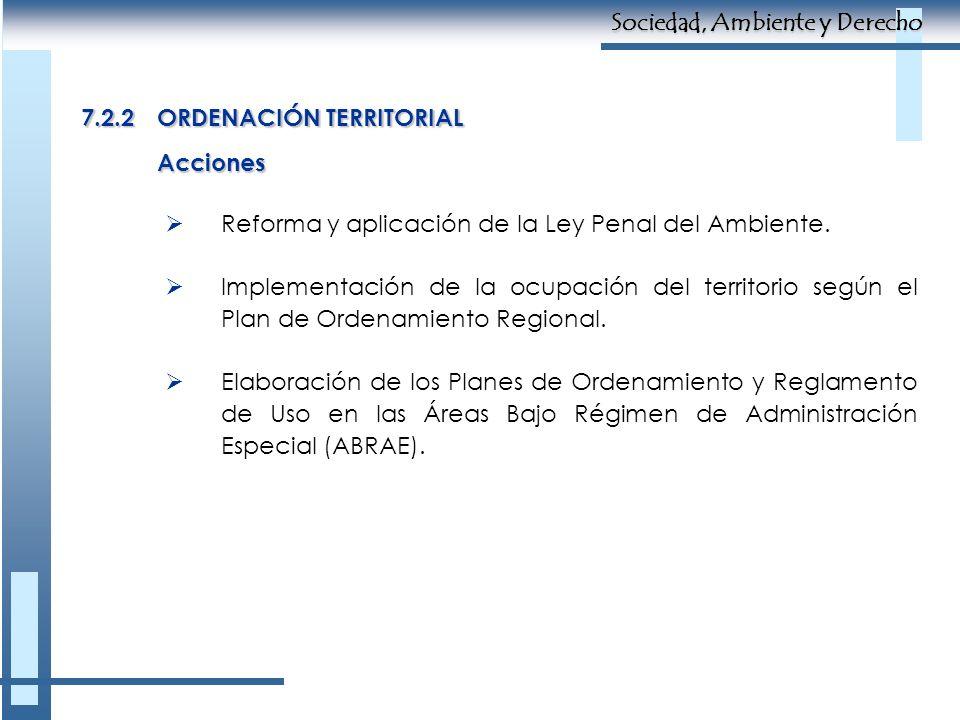 7.2.2ORDENACIÓN TERRITORIAL Reforma y aplicación de la Ley Penal del Ambiente. Implementación de la ocupación del territorio según el Plan de Ordenami