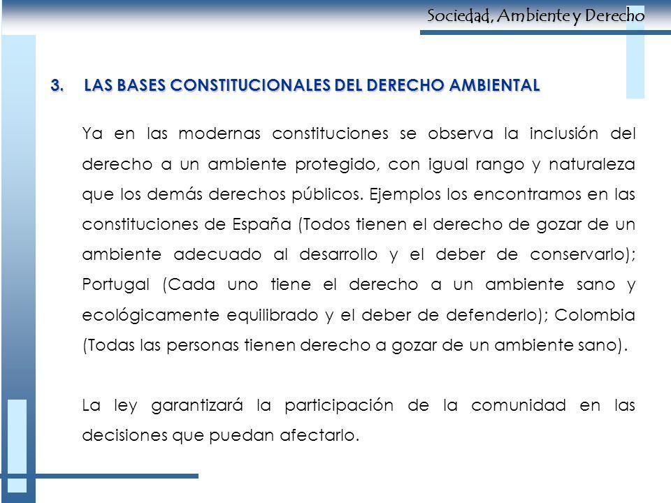 3.LAS BASES CONSTITUCIONALES DEL DERECHO AMBIENTAL Ya en las modernas constituciones se observa la inclusión del derecho a un ambiente protegido, con