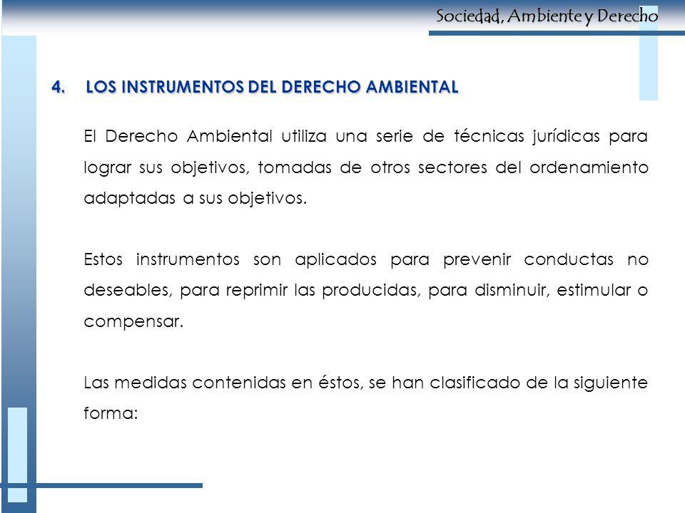 4.LOS INSTRUMENTOS DEL DERECHO AMBIENTAL El Derecho Ambiental utiliza una serie de técnicas jurídicas para lograr sus objetivos, tomadas de otros sect