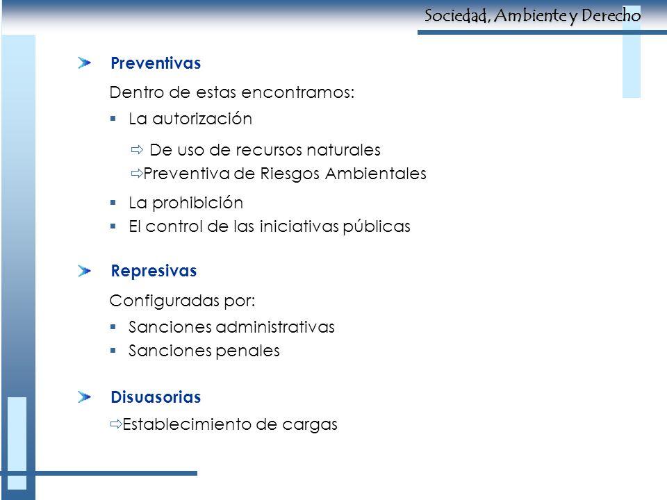 Preventivas Dentro de estas encontramos: La autorización De uso de recursos naturales Preventiva de Riesgos Ambientales La prohibición El control de l