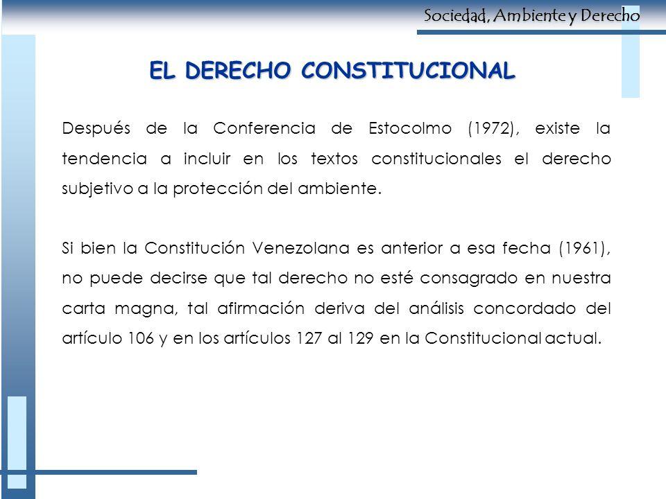 EL DERECHO CONSTITUCIONAL Después de la Conferencia de Estocolmo (1972), existe la tendencia a incluir en los textos constitucionales el derecho subje