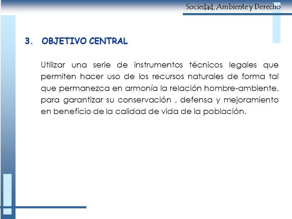 3.OBJETIVO CENTRAL Utilizar una serie de instrumentos técnicos legales que permiten hacer uso de los recursos naturales de forma tal que permanezca en