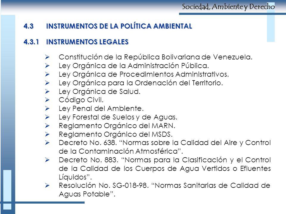 4.3INSTRUMENTOS DE LA POLÍTICA AMBIENTAL Constitución de la República Bolivariana de Venezuela. Ley Orgánica de la Administración Pública. Ley Orgánic