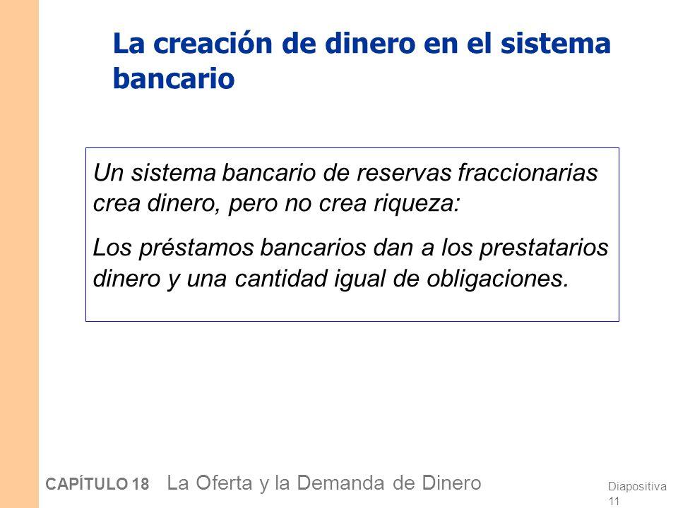 Diapositiva 10 CAPÍTULO 18 La Oferta y la Demanda de Dinero Encontrando la cantidad total de dinero: Depósito original = 1.000 + Préstamos del Banco P