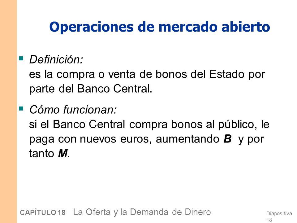Diapositiva 17 CAPÍTULO 18 La Oferta y la Demanda de Dinero Los tres instrumentos de la política monetaria 1. Operaciones de mercado abierto 2. Reserv