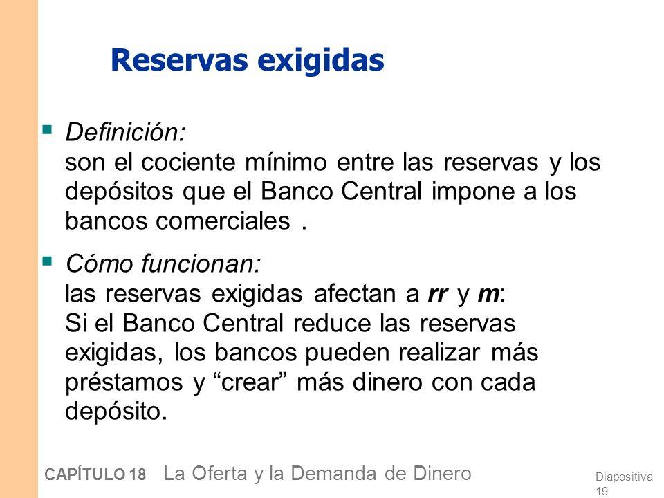 Diapositiva 18 CAPÍTULO 18 La Oferta y la Demanda de Dinero Operaciones de mercado abierto Definición: es la compra o venta de bonos del Estado por pa