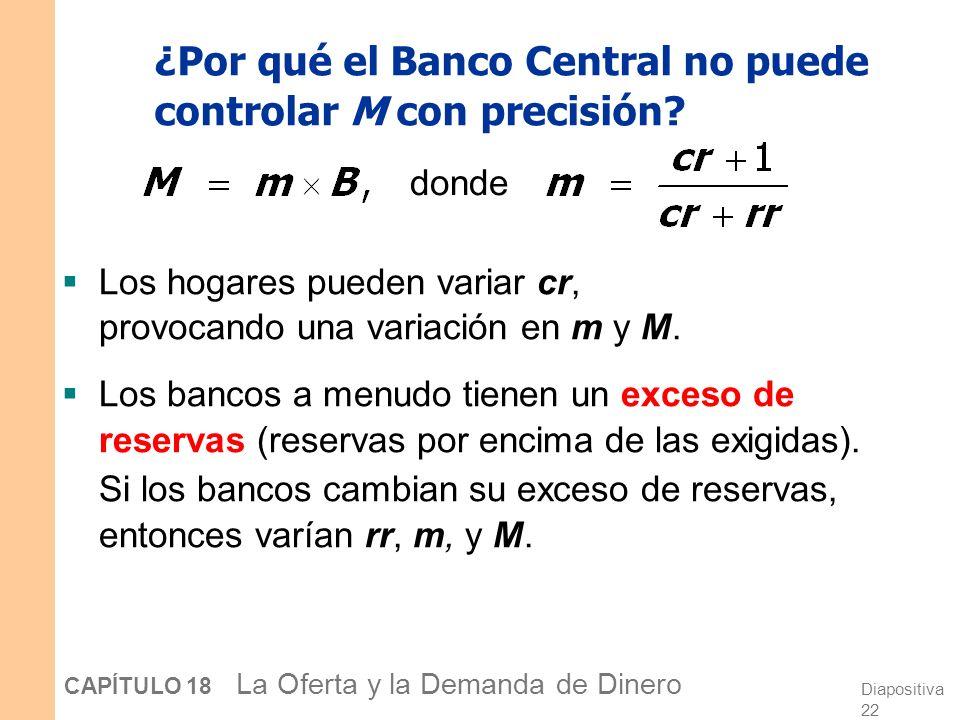 Diapositiva 21 CAPÍTULO 18 La Oferta y la Demanda de Dinero ¿Qué instrumento es utilizado con más frecuencia? Operaciones de mercado abierto: son las