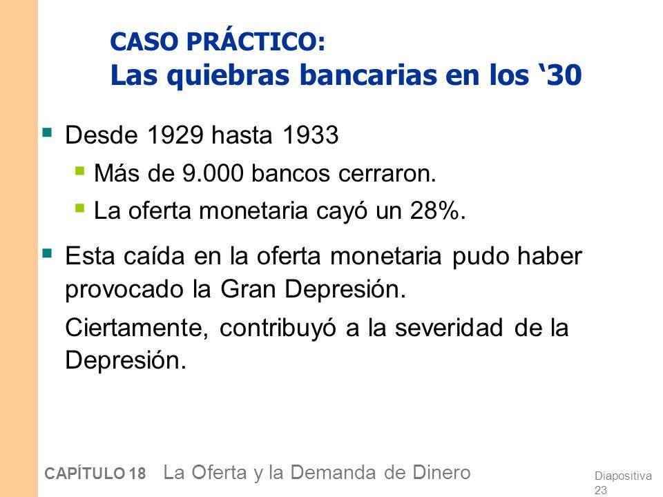 Diapositiva 22 CAPÍTULO 18 La Oferta y la Demanda de Dinero ¿Por qué el Banco Central no puede controlar M con precisión? Los hogares pueden variar cr