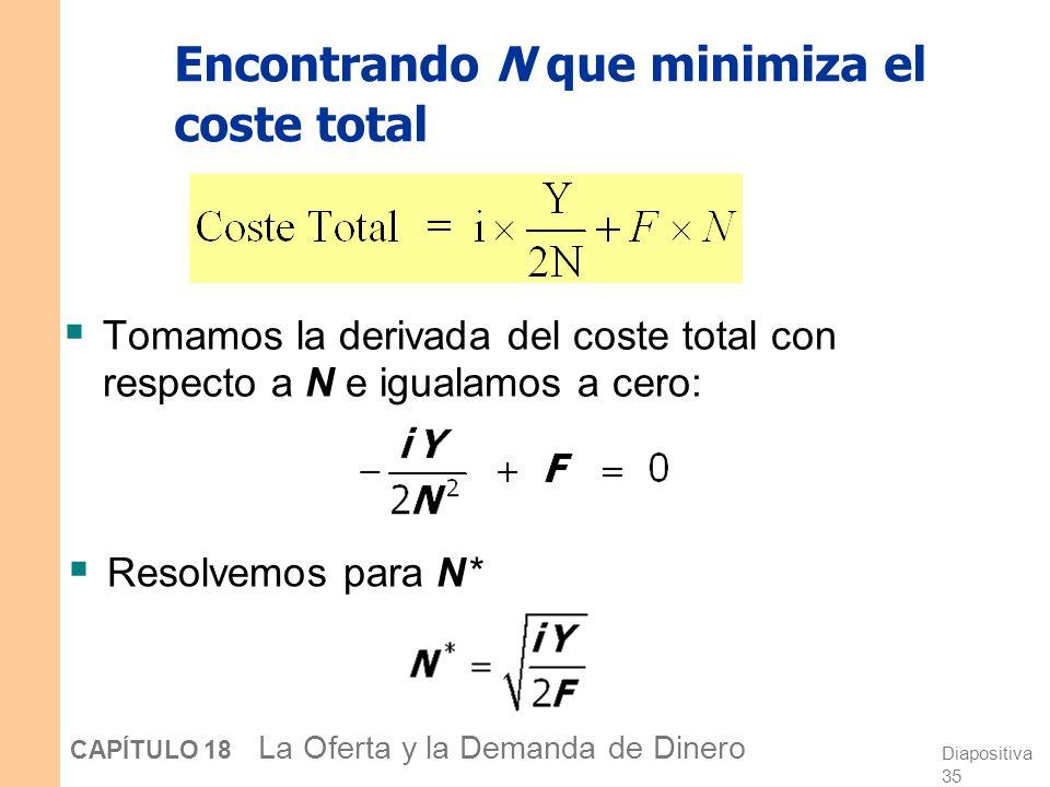 Diapositiva 34 CAPÍTULO 18 La Oferta y la Demanda de Dinero Encontrando N que minimiza el coste total N*N* Intereses perdidos Coste de los desplazamie