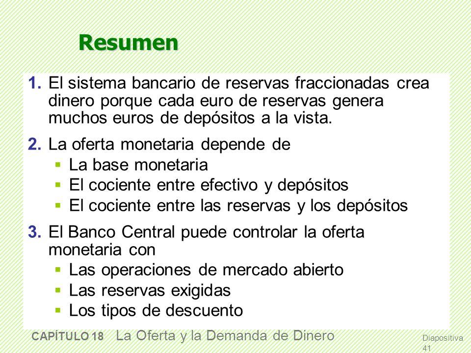 Diapositiva 40 CAPÍTULO 18 La Oferta y la Demanda de Dinero La innovación financiera, el cuasi-dinero y la desaparición de los agregados monetarios El