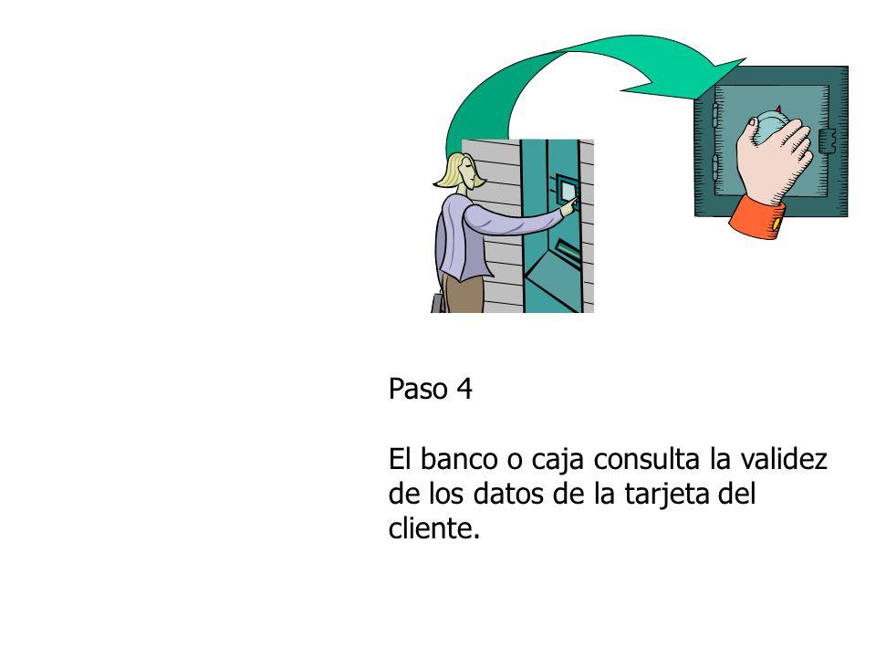 Paso 4 El banco o caja consulta la validez de los datos de la tarjeta del cliente.