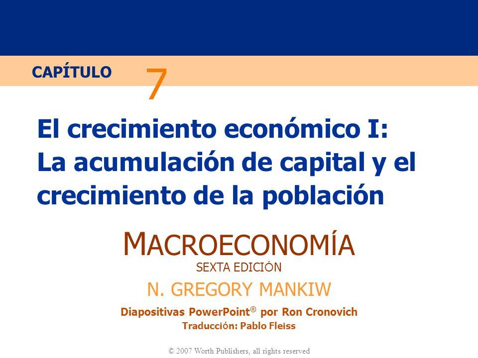 Diapositiva 10 CAPÍTULO 7 El Crecimiento Económico I La función de producción En términos agregados: Y = F (K, L) Definimos: y = Y/L = producción por trabajador k = K/L = capital por trabajador Suponemos rendimientos constantes a escala: zY = F (zK, zL ) para todo z > 0 Tomamos z = 1/L.