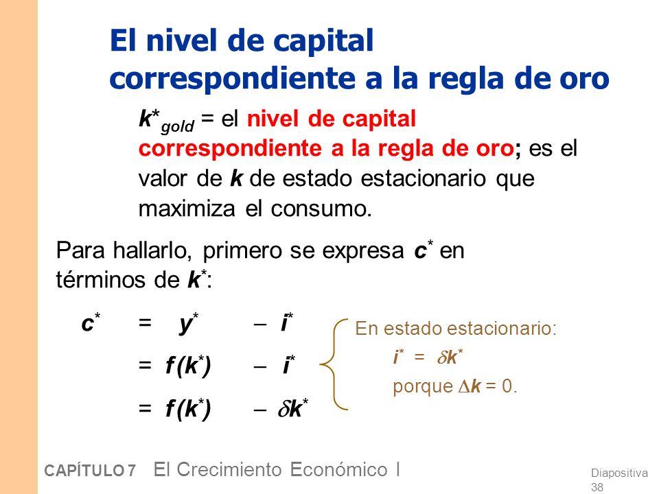 Diapositiva 37 CAPÍTULO 7 El Crecimiento Económico I La regla de oro: Introducción Distintos valores de s conducen a distintos estados estacionarios.