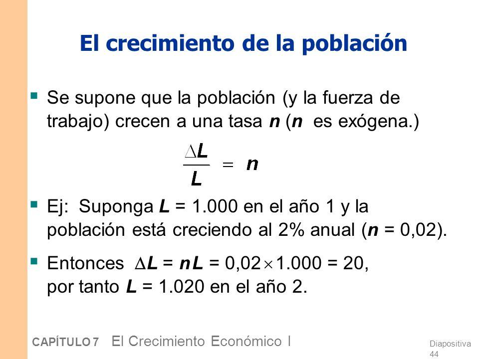 Diapositiva 43 CAPÍTULO 7 El Crecimiento Económico I Comenzando con demasiado poco capital incrementar c * requiere un incremento en s. Generaciones f
