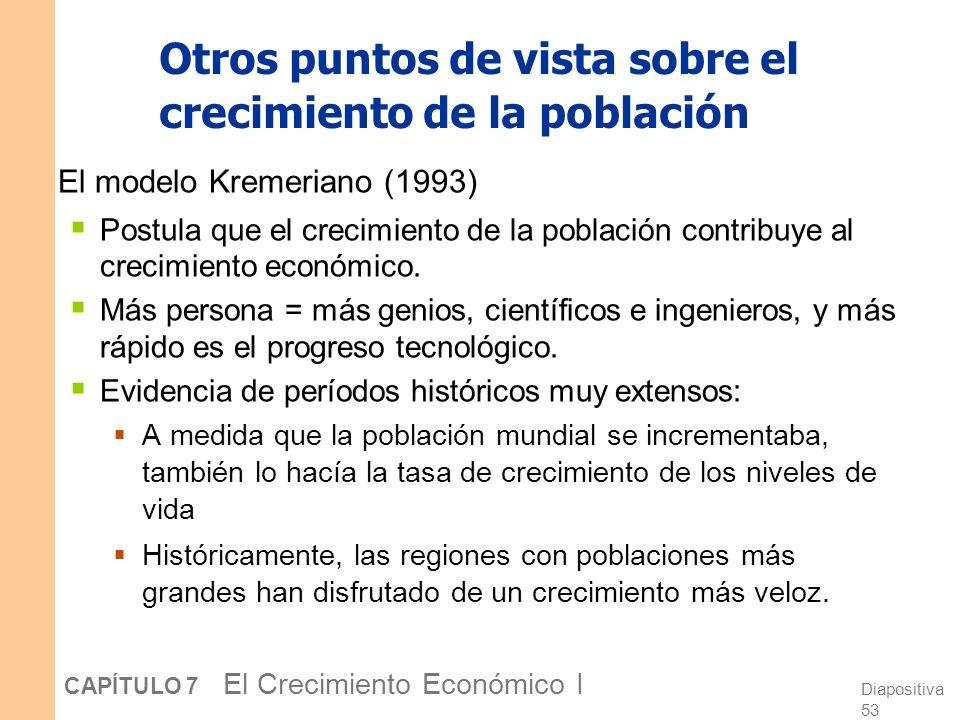 Diapositiva 52 CAPÍTULO 7 El Crecimiento Económico I Otros puntos de vista sobre el crecimiento de la población El modelo Malthusiano (1798) Predice q