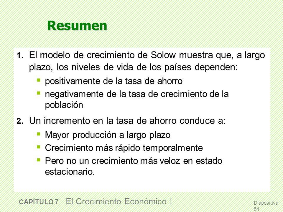 Diapositiva 53 CAPÍTULO 7 El Crecimiento Económico I Otros puntos de vista sobre el crecimiento de la población El modelo Kremeriano (1993) Postula qu