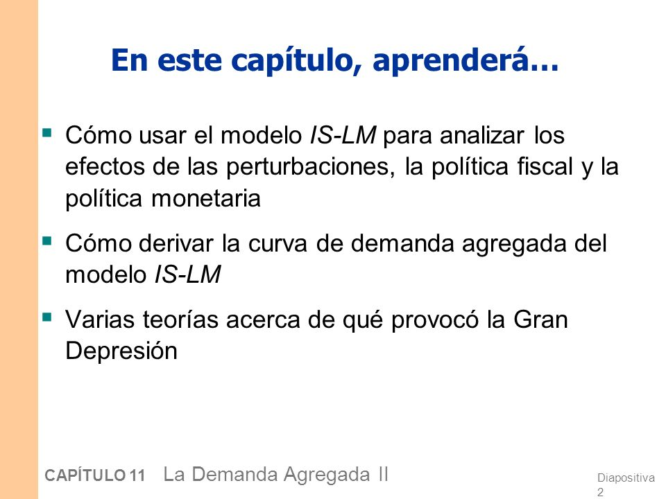 Diapositiva 22 CAPÍTULO 11 La Demanda Agregada II ¿Cuál es el instrumento de política del Banco Central.