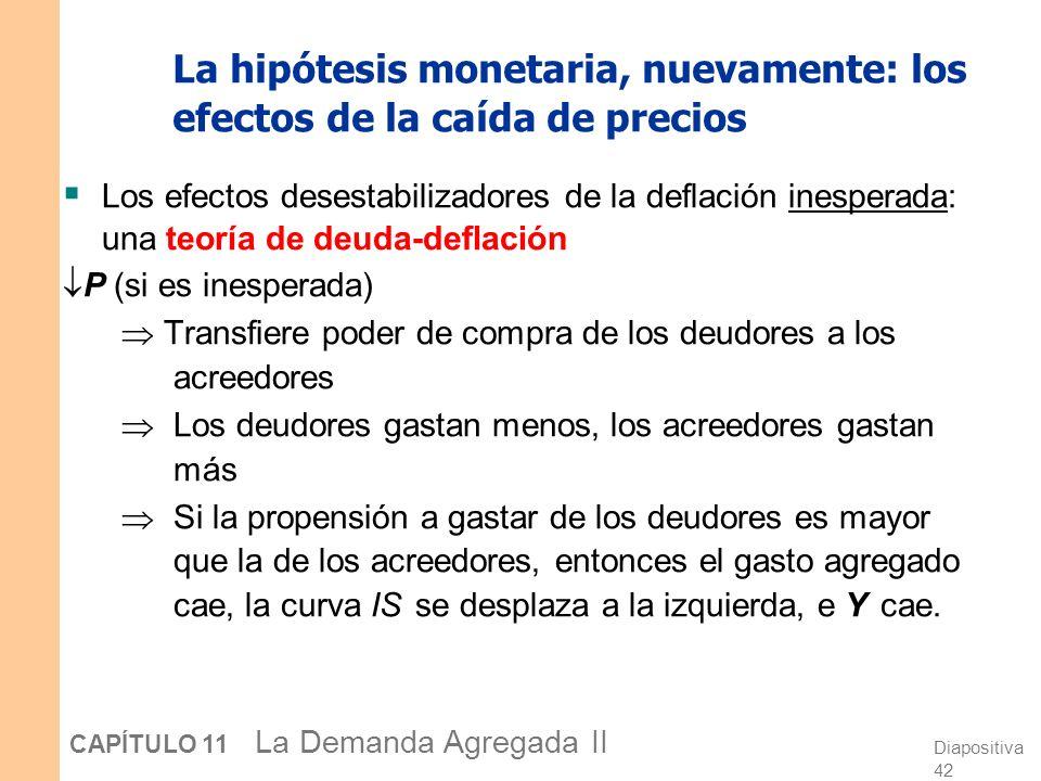 Diapositiva 41 CAPÍTULO 11 La Demanda Agregada II La hipótesis monetaria, nuevamente: los efectos de la caída de precios Los efectos desestabilizadore