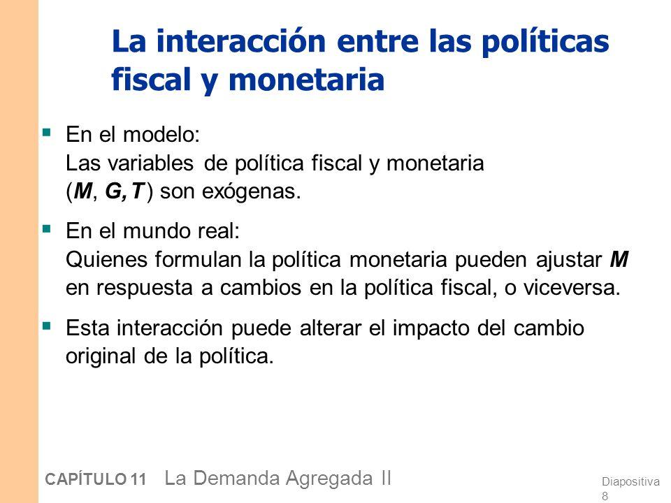 Diapositiva 8 CAPÍTULO 11 La Demanda Agregada II La interacción entre las políticas fiscal y monetaria En el modelo: Las variables de política fiscal y monetaria (M, G, T ) son exógenas.