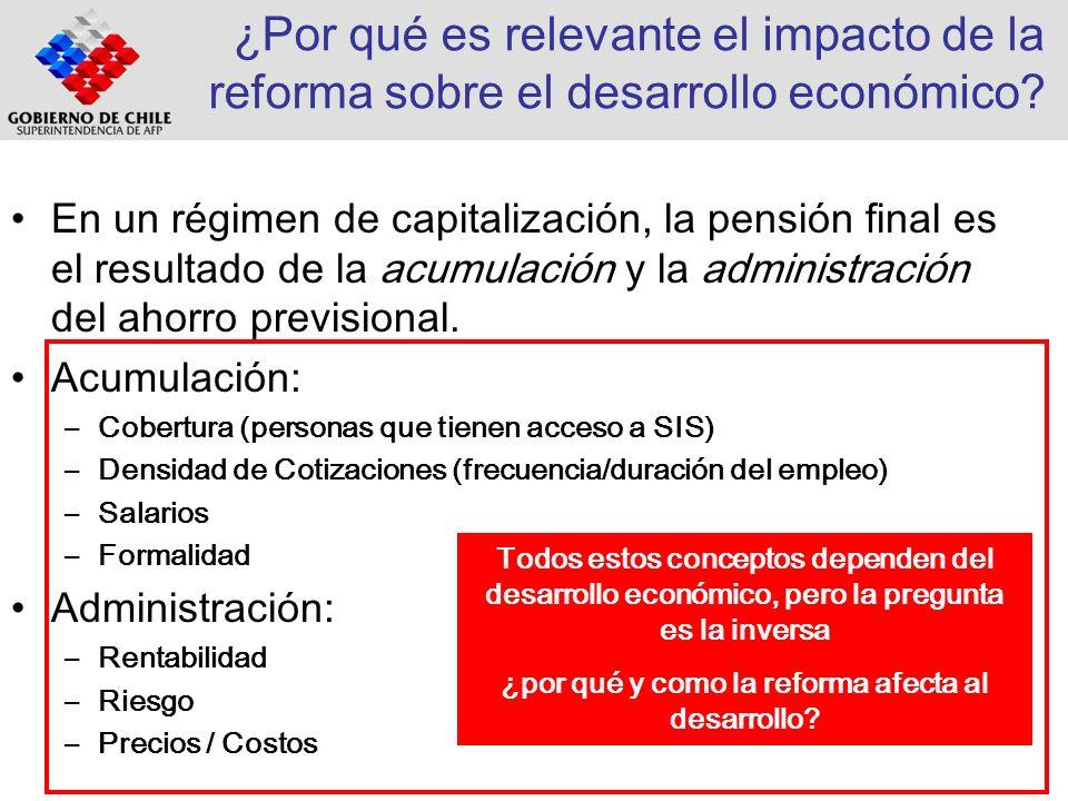 ¿Por qué es relevante el impacto de la reforma sobre el desarrollo económico? En un régimen de capitalización, la pensión final es el resultado de la