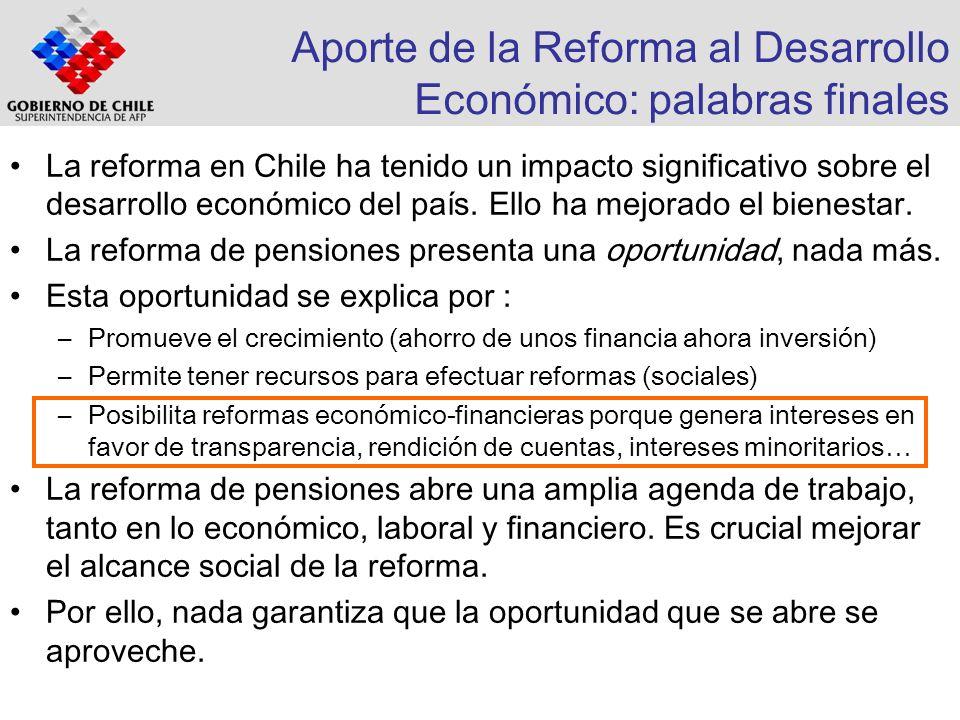 Aporte de la Reforma al Desarrollo Económico: palabras finales La reforma en Chile ha tenido un impacto significativo sobre el desarrollo económico de