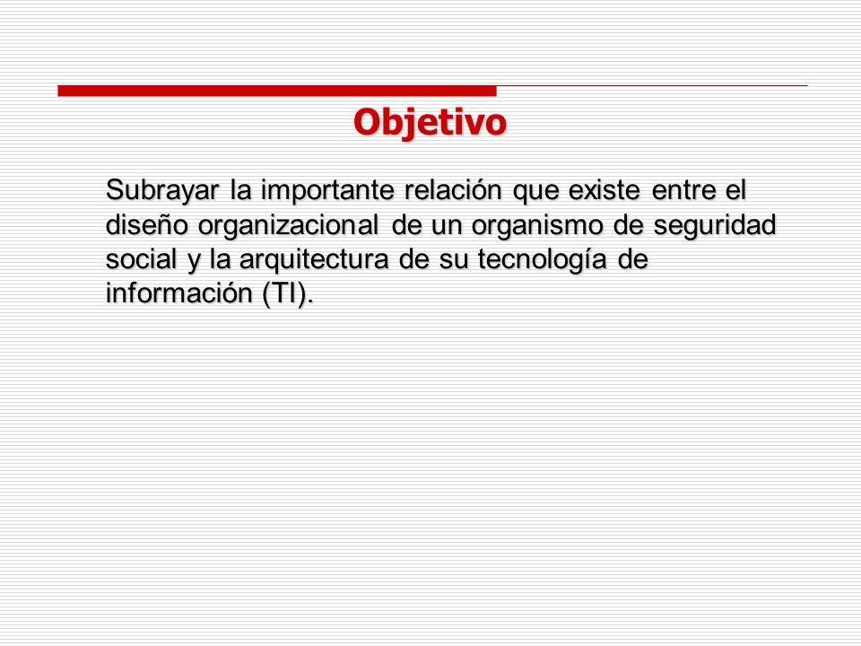 Objetivo Subrayar la importante relación que existe entre el diseño organizacional de un organismo de seguridad social y la arquitectura de su tecnología de información (TI).