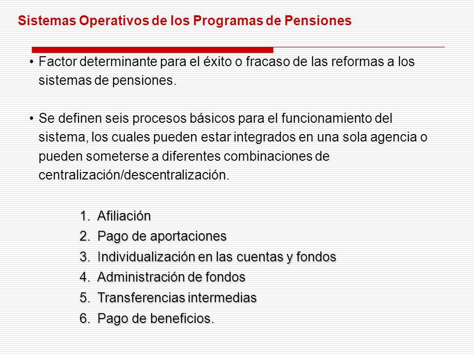 Los Sistemas Operativos de las Cuentas Individuales para el Retiro