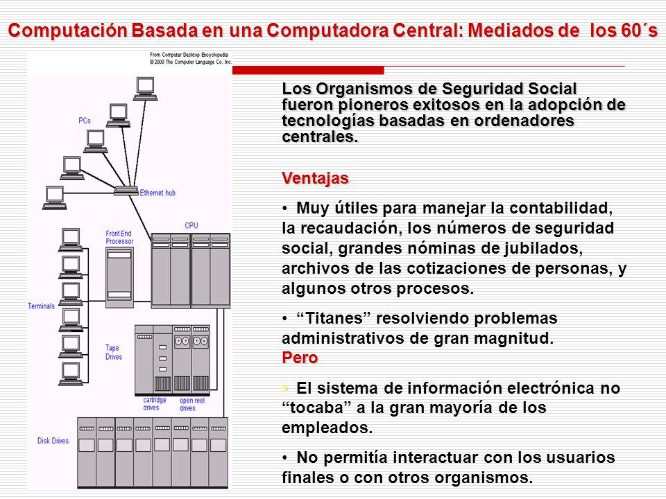 Computación Basada en una Computadora Central: Mediados de los 60´s Los Organismos de Seguridad Social fueron pioneros exitosos en la adopción de tecnologías basadas en ordenadores centrales.