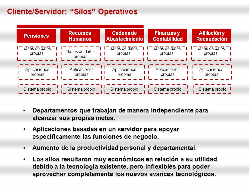 Cliente/Servidor: Silos Operativos Departamentos que trabajan de manera independiente para alcanzar sus propias metas.Departamentos que trabajan de manera independiente para alcanzar sus propias metas.