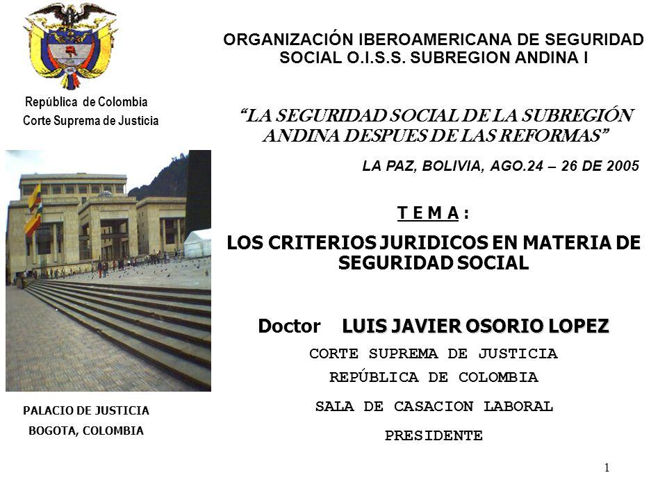 12 CAÑON DEL RIO CHICAMOCHA República de Colombia Corte Suprema de Justicia VI.CRITERIOS JURIDICOS Derechos sociales, económicos y culturales - Institución familiar (artículo 42), el derecho a la igualdad y la protección a la mujer (artículo 43), la protección de la niñez (artículo 44), la protección de los jóvenes (artículo 45), los derechos de los ancianos (artículo 46), la protección a los disminuidos físicos y psíquicos (artículo 47) - el derecho a la seguridad social (artículo 48), el servicio de salud y saneamiento ambiental (artículo 49), el derecho de los menores a la protección o seguridad social (artículo 50), el derecho a vivienda digna (artículo 51), el derecho a la recreación, al deporte y la utilización del tiempo libre (artículo 52) - el derecho a un estatuto del trabajo (artículo 53), el derecho al empleo y a la capacitación laboral (artículo 54), la negociación colectiva y conciliación de conflictos laborales (artículo 55), el derecho de huelga (artículo 56), la cogestión (artículo 57),