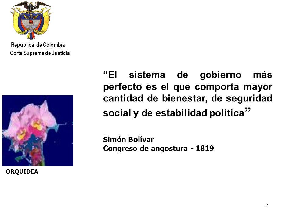 23 República de Colombia Corte Suprema de Justicia C O N C L U S I O N E S Desde el punto de vista social, hoy día son visibles los resultados del esfuerzo del Estado y de la Nación en general, por hacer de la seguridad social una realidad en la vida de millones de colombianos.