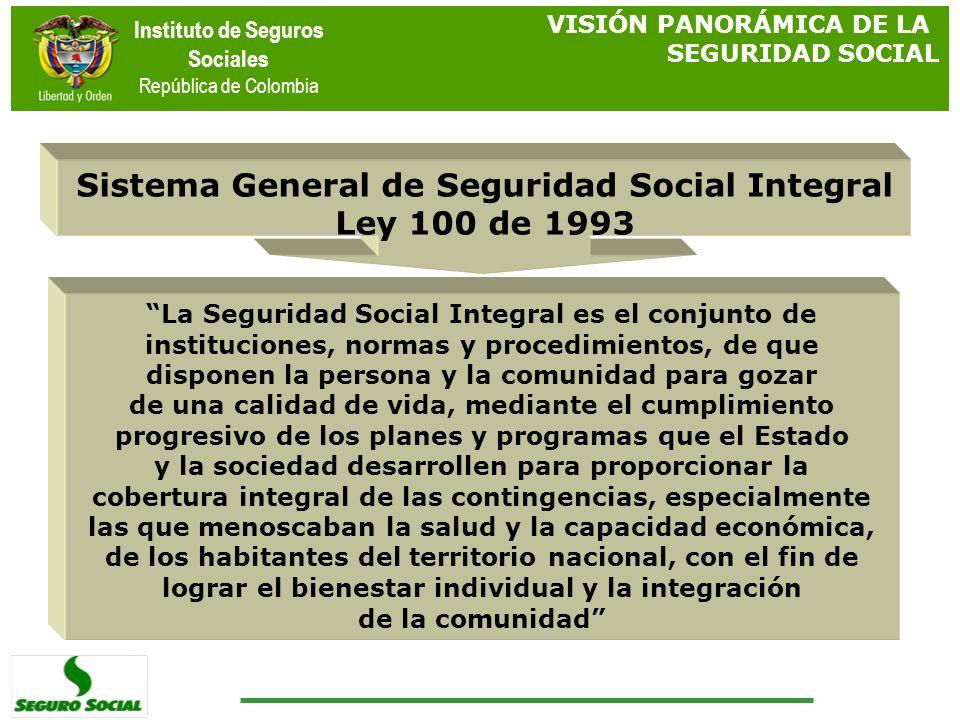 Instituto de Seguros Sociales República de Colombia VISIÓN PANORÁMICA DE LA SEGURIDAD SOCIAL La Seguridad Social Integral es el conjunto de institucio